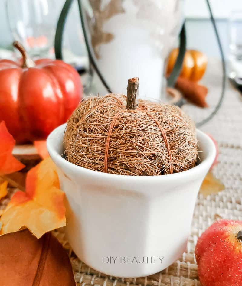 fall table pumpkins with texture