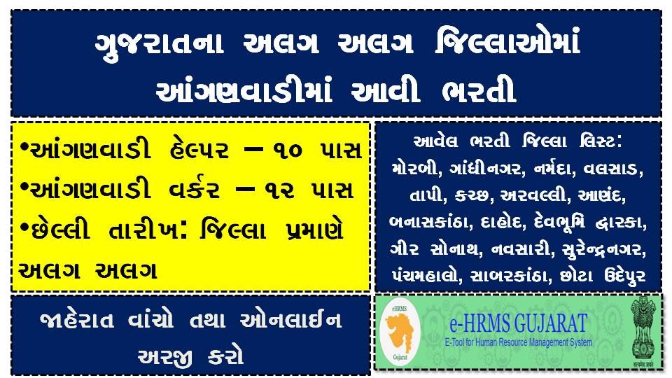 Gujarat Anganwadi Helper, Worker Various District Recruitment 2020