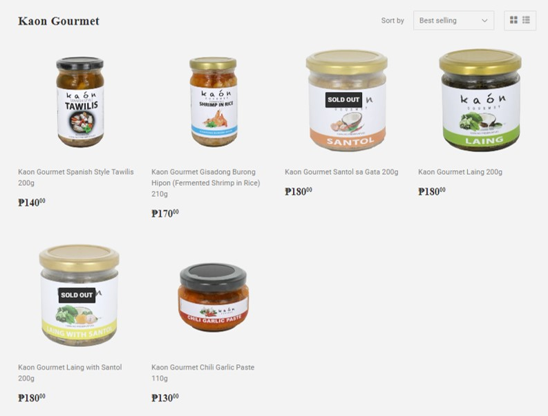 Kaon Gourmet food products being sold at Foodsource PH