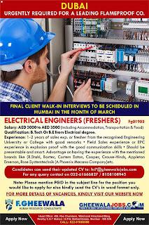 ELECTRICAL ENGINEERS FRESHERS JOB DUBAI TEXT IMAGE
