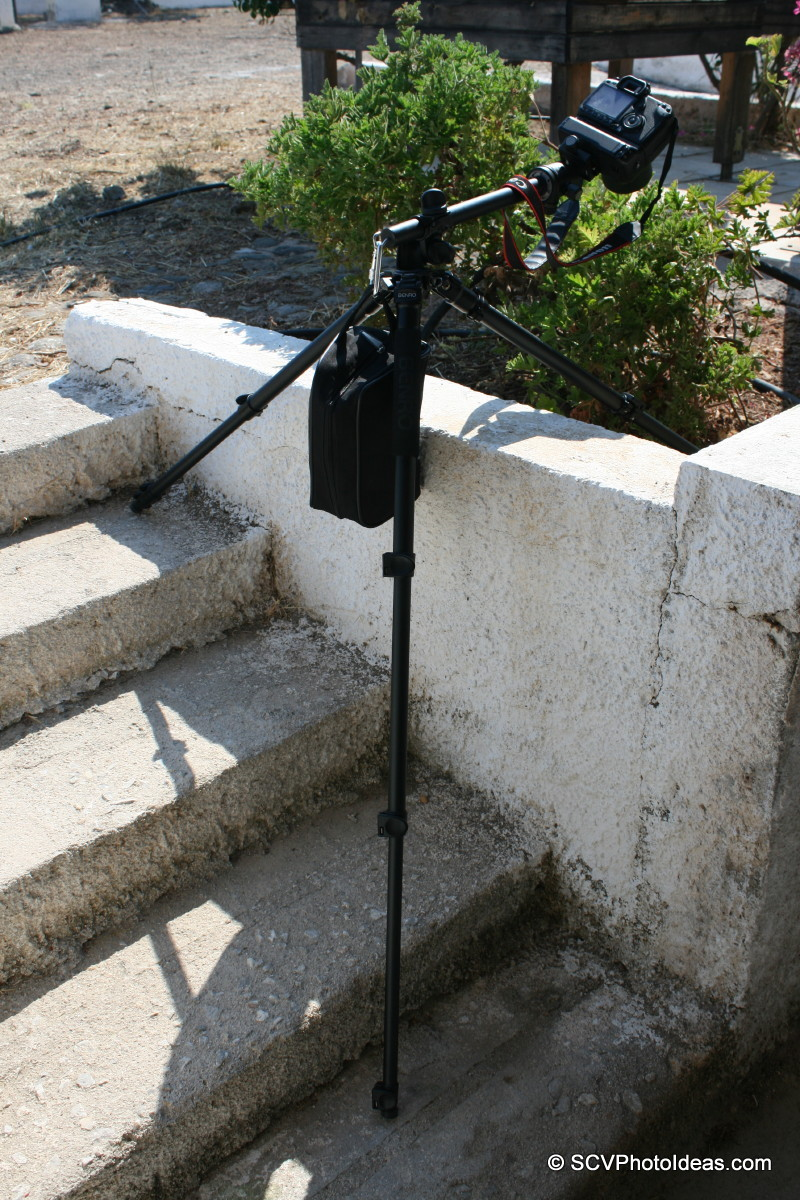 Benro A-298EX on steps w/ center column angled + balance weight