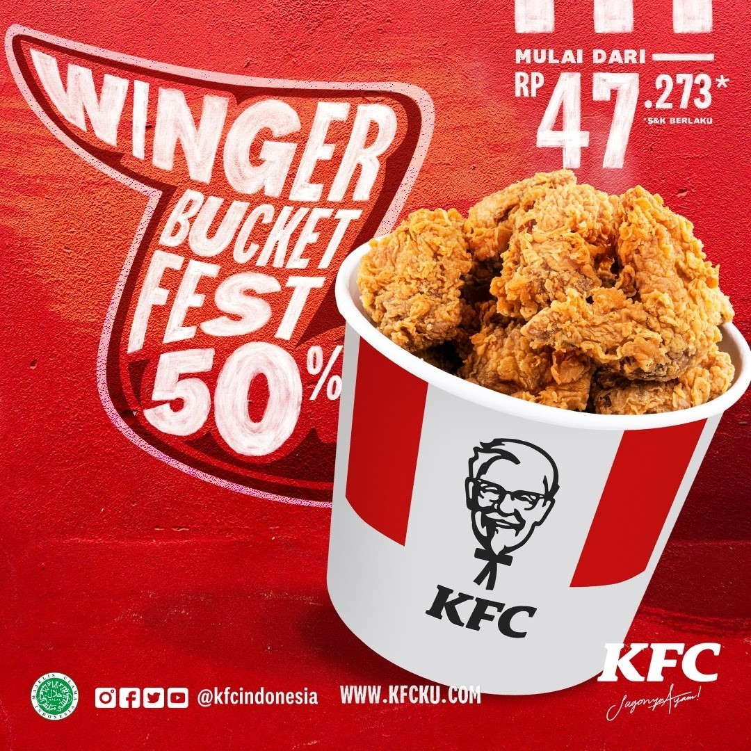 Promo KFC Terbaru - WINGER BUCKET FEST 50% Mulai dari Rp. 47.273