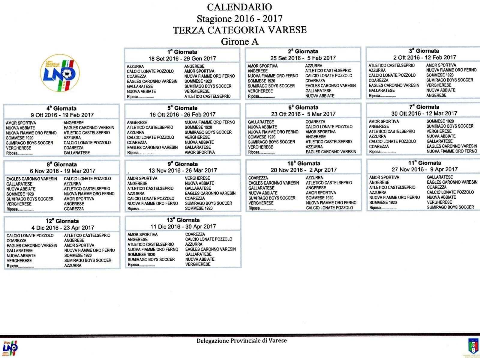 Calendario Terza Categoria.Gruppo Sportivo Eagles Calendario Terza Categoria