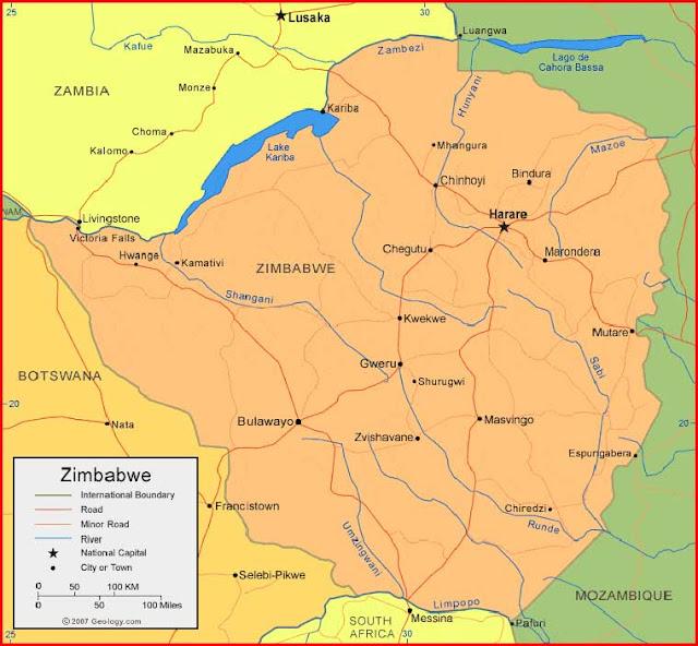 Gambar Peta Zimbabwe