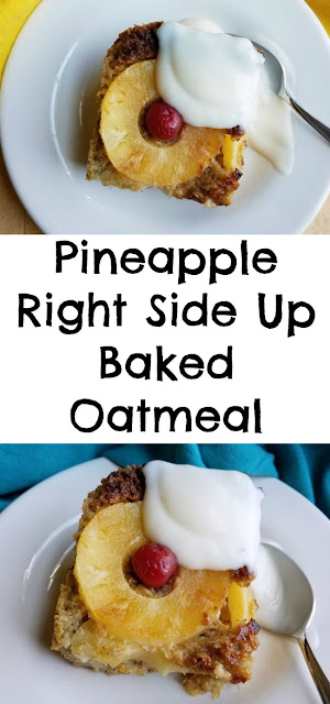 Take a bite of the tropics with this fun breakfast! This baked oatmeal has a great creamy texture but is hearty enough to be cut into pieces. It is just sweet enough to taste like a treat but is a pretty healthy way to start the day!