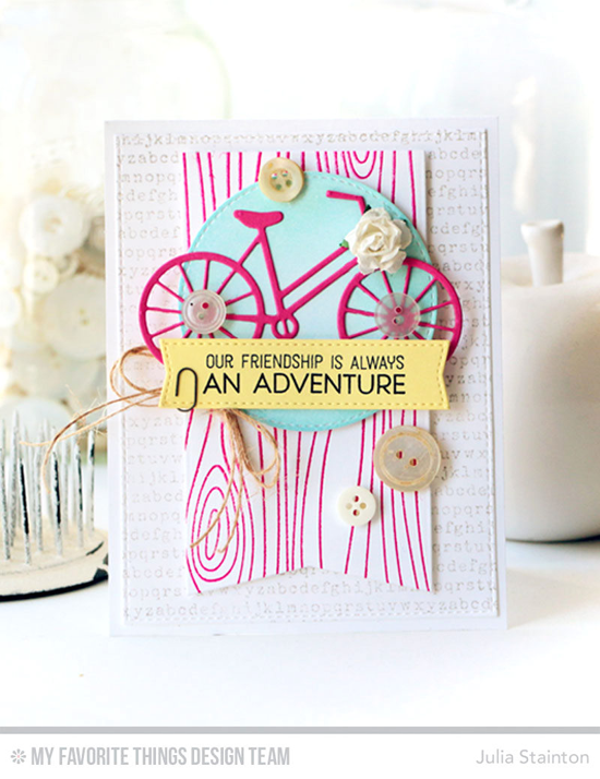 Handmade card from Julia Stainton featuring Warm & Fuzzy stamp set, Whimsical Woodgrain Background and Typewriter Text Background stamps, Bicycle, Inside & Out Stitched Circle STAX, Blueprints 13 and Blueprints 20 Die-namics #mftstamps