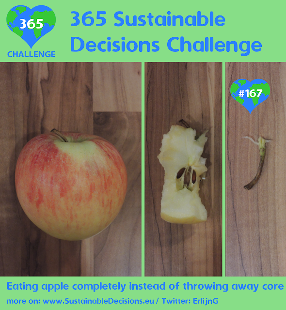 Eating apple completely instead of throwing away core reducing food waste