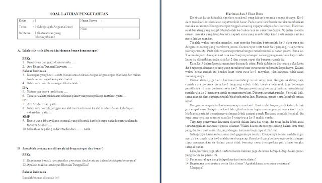 Soal Ulangan Harian Kelas 6 Tema 9