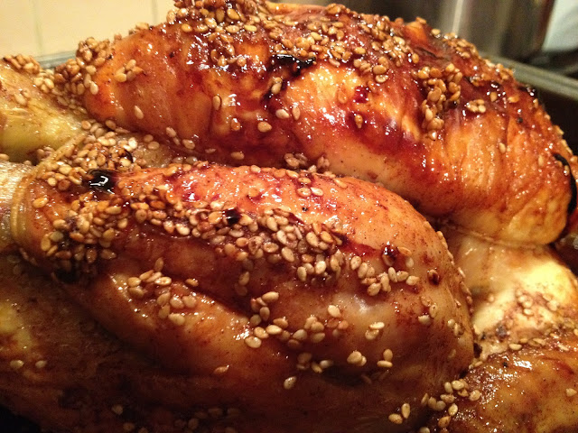 Delicious Maple-Glazed Roast Chicken with Sesame Seeds