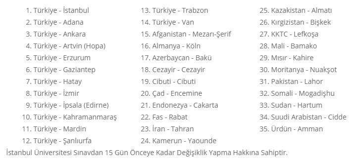 İstanbul Sınav Merkezleri