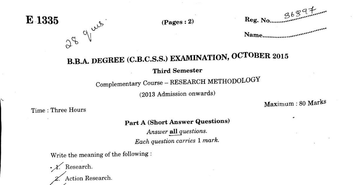 mgu BBA degree semester 3 research methodology 2015 Previous