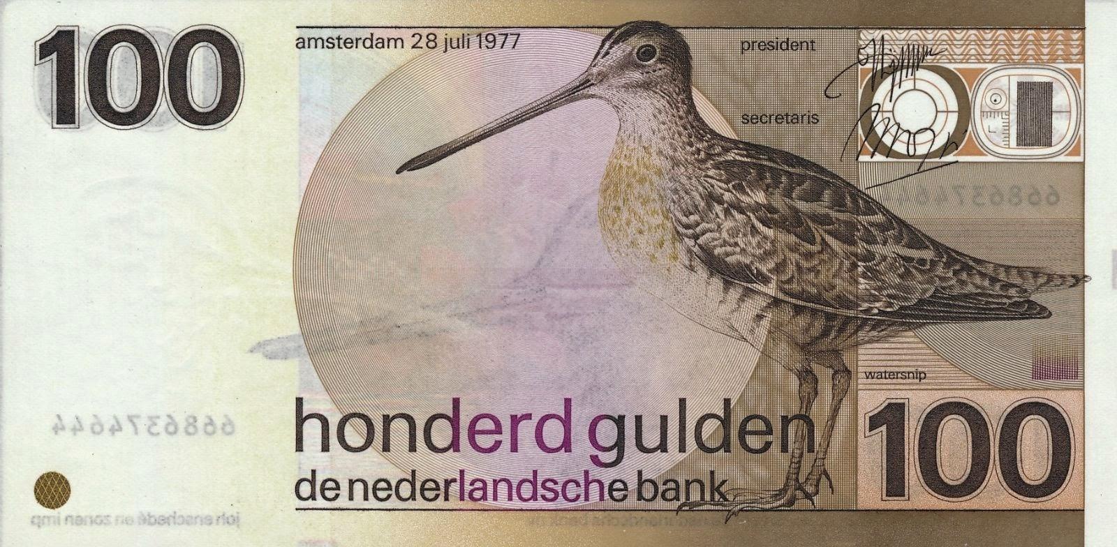 Netherlands Banknotes 100 Gulden Banknote 1977 Snipe
