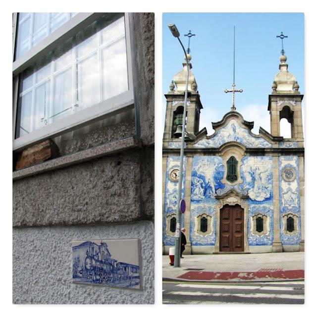 fachadas de casa e de Igreja com azulejos