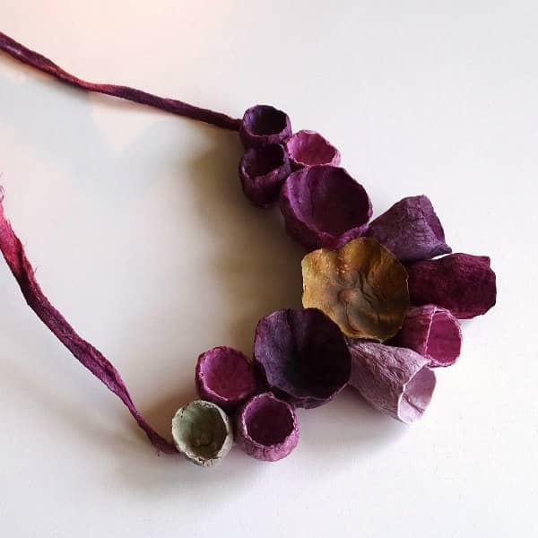 burgundy floral paper necklace