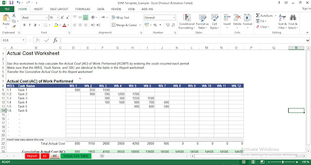 Actual Cost Excel Template