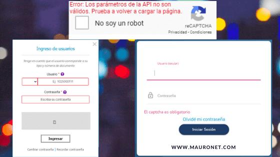 LOS PARAMETROS DE API NO SON VALIDOS