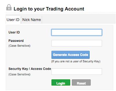 login screen of trading account