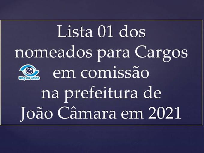 Lista 01 dos nomeados para cargos em comissão na prefeitura de João Câmara em 2021