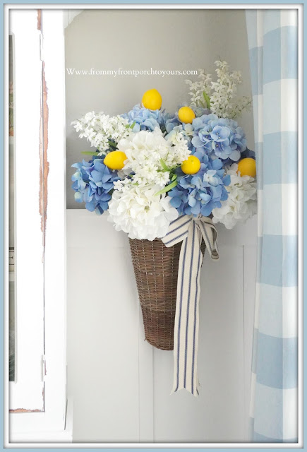 French -Country- Farmhouse- Dining- Room-DIY-Flower-Arrangement-Hydrangeas-Lemons-Blue & White-Buffalo- Check- Late -Summer- Decor-From My Front Porch To Yours