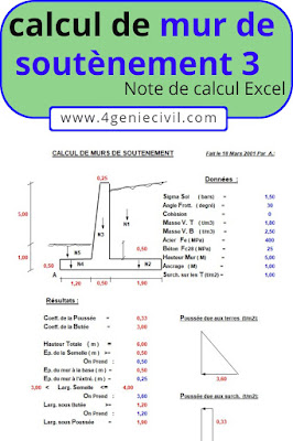 Exemple de calcul pour mur de soutènement en béton armé.