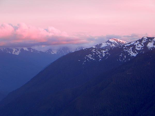 Olympic Mountain Range at Sunset