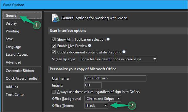 تفعيل الوضع المظلم في Office برنامج 4