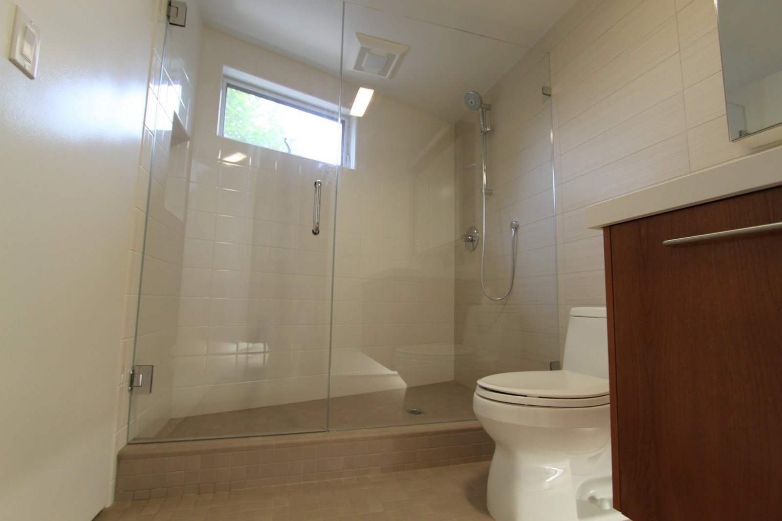 Shower Doors And Paint In Mid Century Modern Bathroom