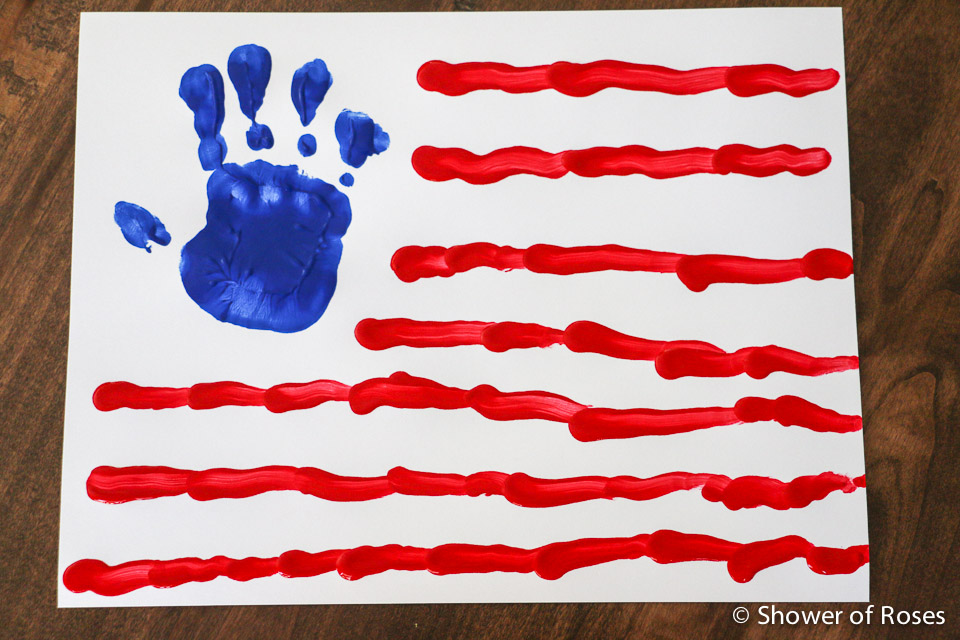 Shower Of Roses 4th Of July Handprint Flag