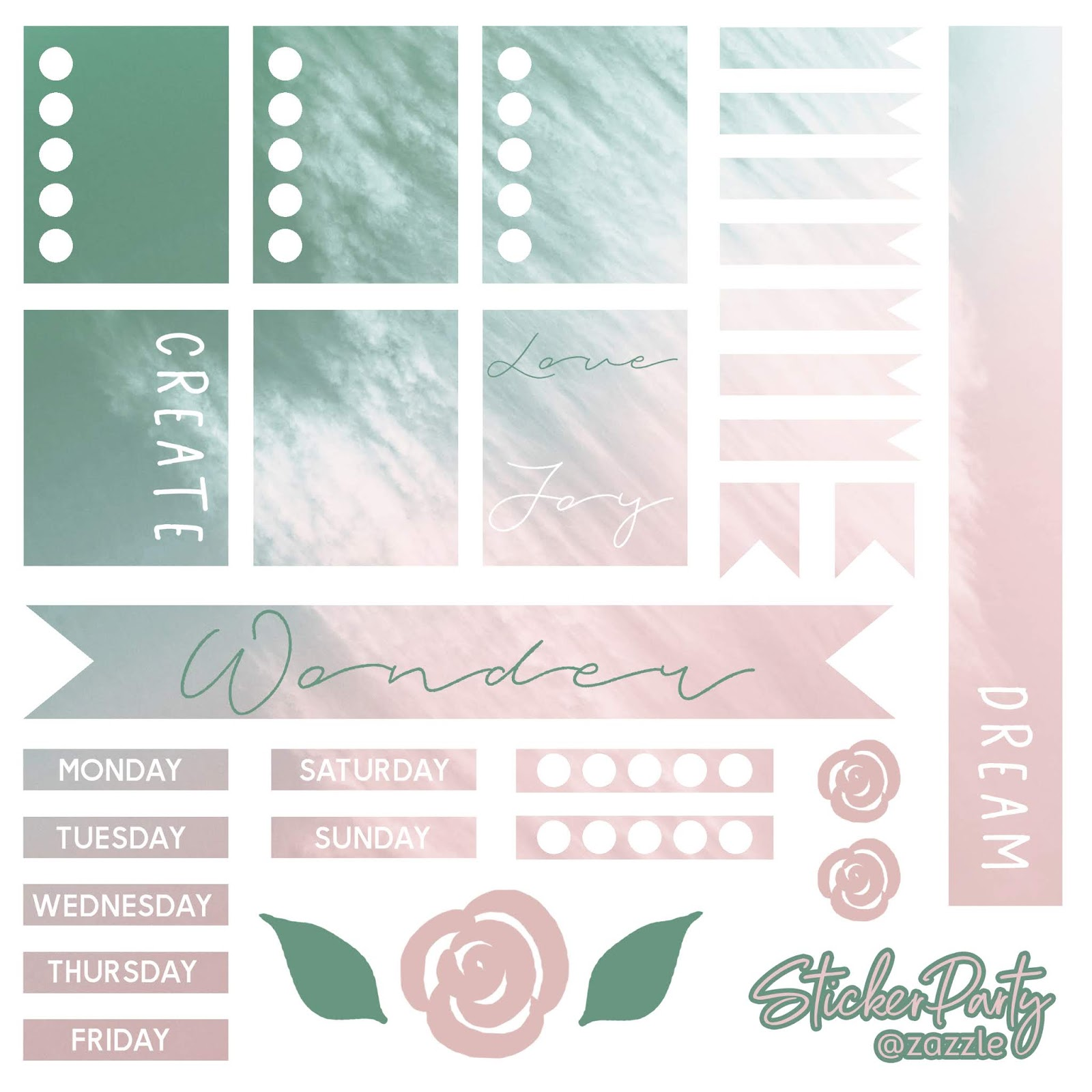 Free digital download - create dream joy love planner sticker sheet. With word art, days of the week, flags, banners, checklists, boxes, and more. In a pink, teal green, blush color palette.