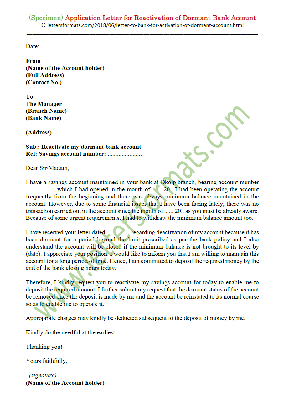 Letter To Bank Manager For Reactivation Of Dormant Account