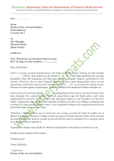 letter format for activation of dormant bank account