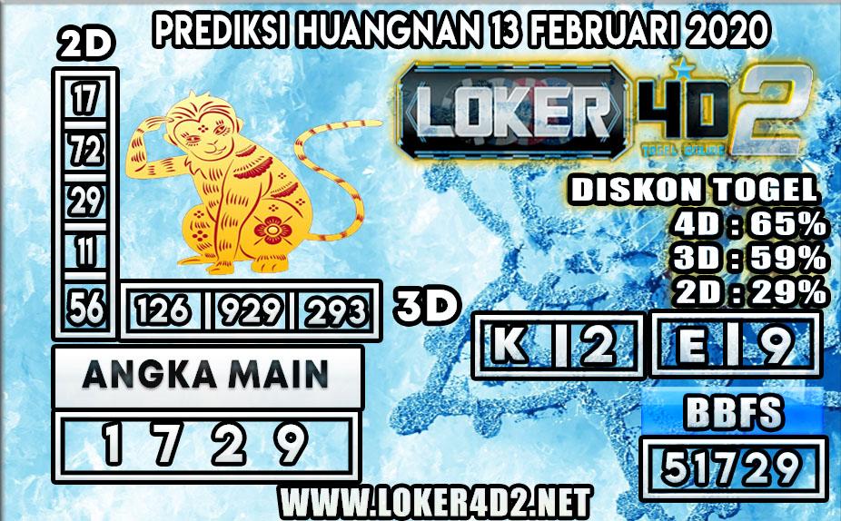 PREDIKSI TOGEL HUANGNAN LOKER4D2 13 FEBRUARI 2020