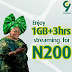 Get 1GB of data + 3 hours streaming on 9mobile for just N200