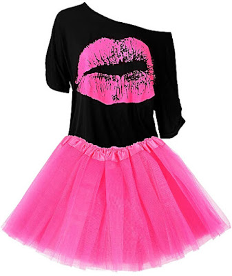 Neon 80s Tulle Skirt and Off One Shoulder Top