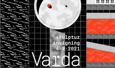 Affisch för invigningen med stiliserad bild av konstverket.