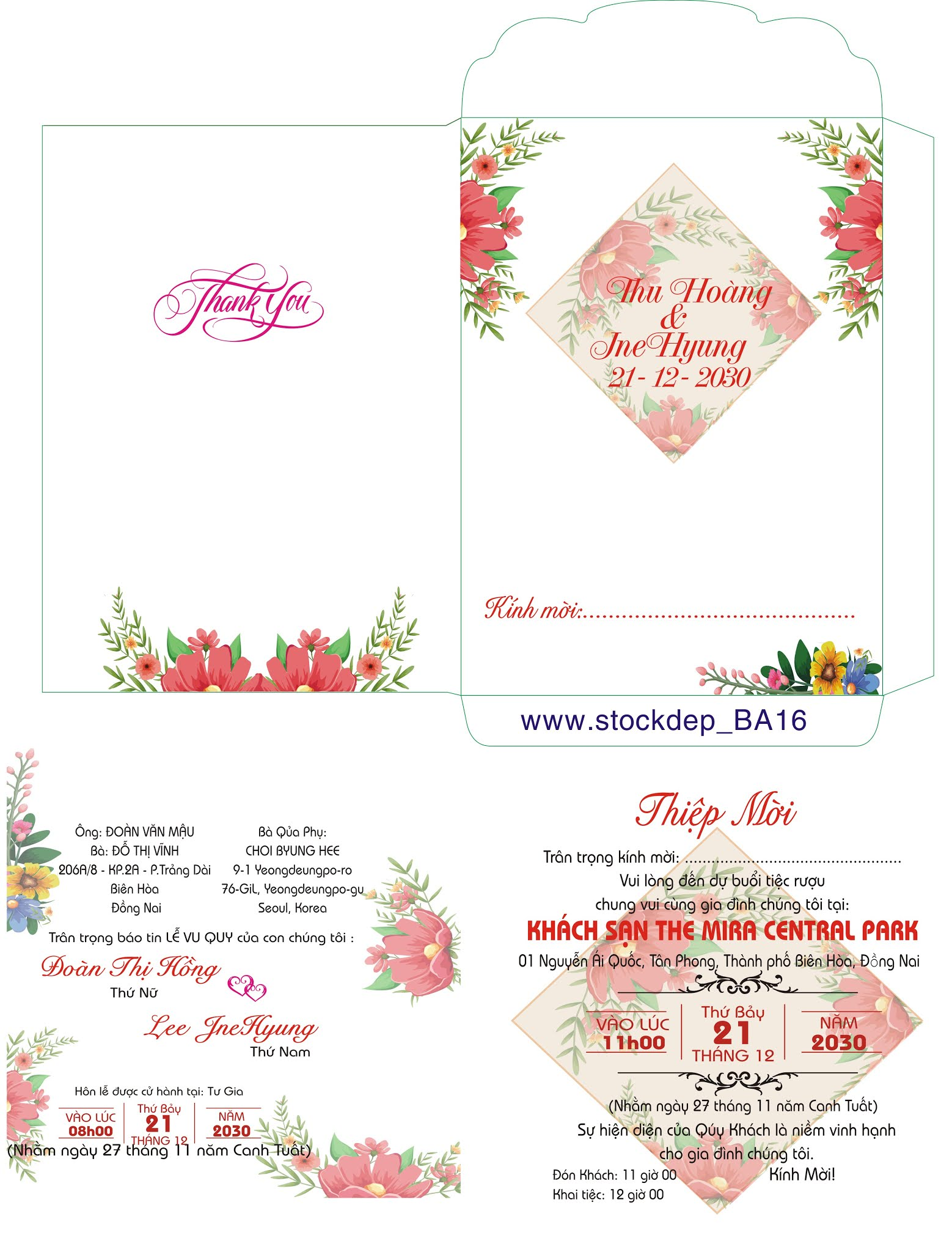 Wedding invitation set with pink flower garden watercolor