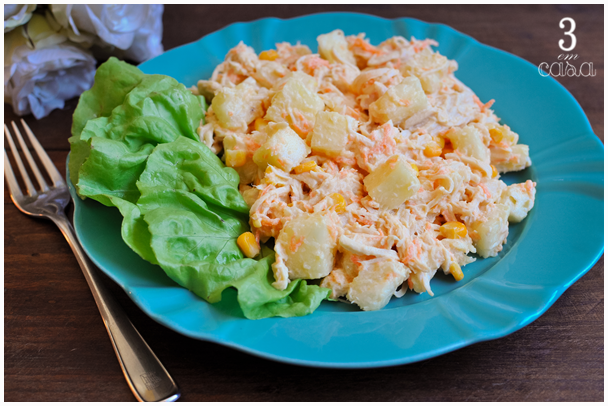 salada frango agridoce com abacaxi