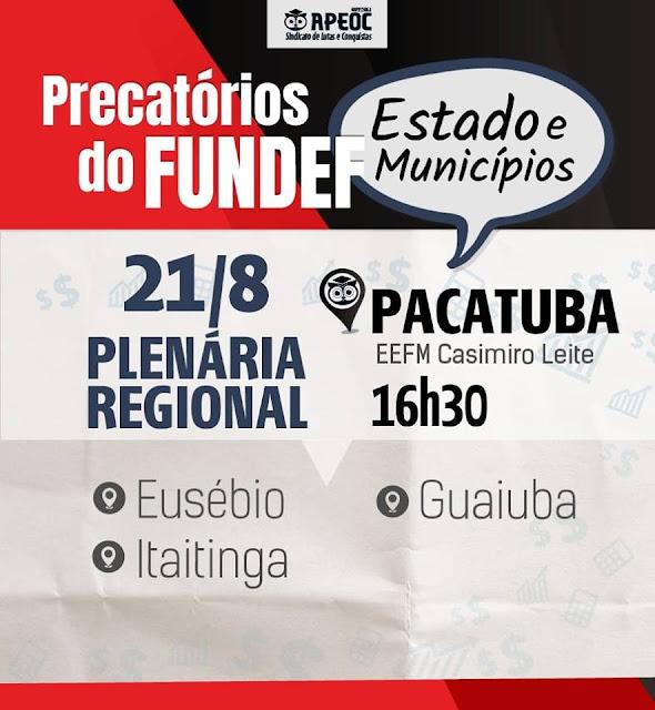 APEOC - PLENÁRIA EM PACATUBA - ESCOLA CASIMIRO LEITE DE OLIVEIRA
