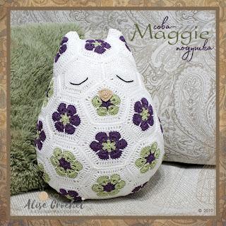 """Сова-подушка """"Maggie"""" из мотива африканский цветок JosCrocheteria - Maggie the Owl Pillow"""