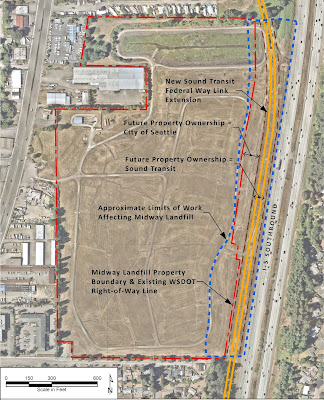A map shows the landfill in the center, with the freeway just to the right. A double yellow line shows the future path of light rail along the freeway at the landfill's edge. A red line shows the landfill boundaries. A blue line shows the work area for light rail construction.