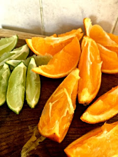 Lime and orange wedges for sangria iced tea