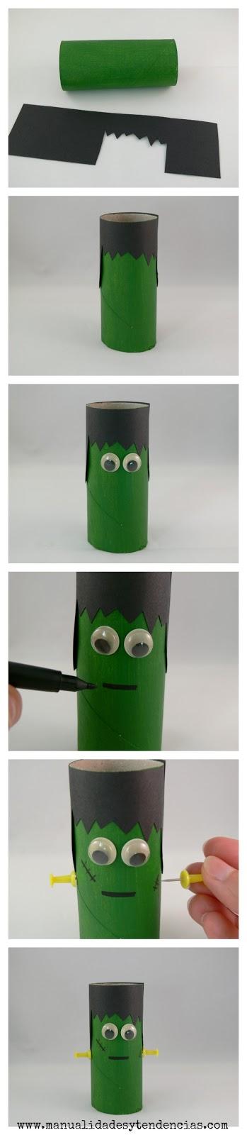 Cómo hacer un Frankenstein con rollos de papel higiénico