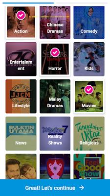 select 3 favorites genre channels
