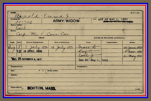 Certificate honoring Emma Jane Arnold as widow of Civil War veteran Earl (Robert Earl) Arnold, CT Calvary