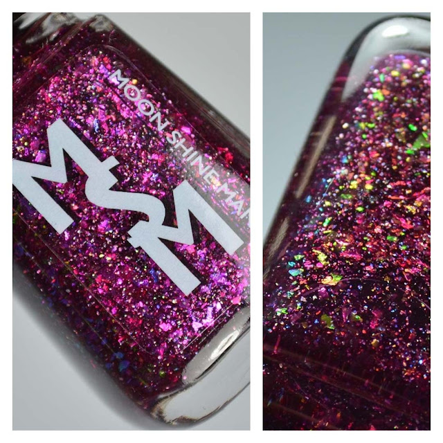 berry nail polish with flakies in a bottle