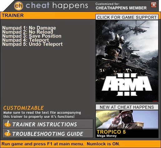 Cheat Happens Game Trainers: ArmA 3 Trainer