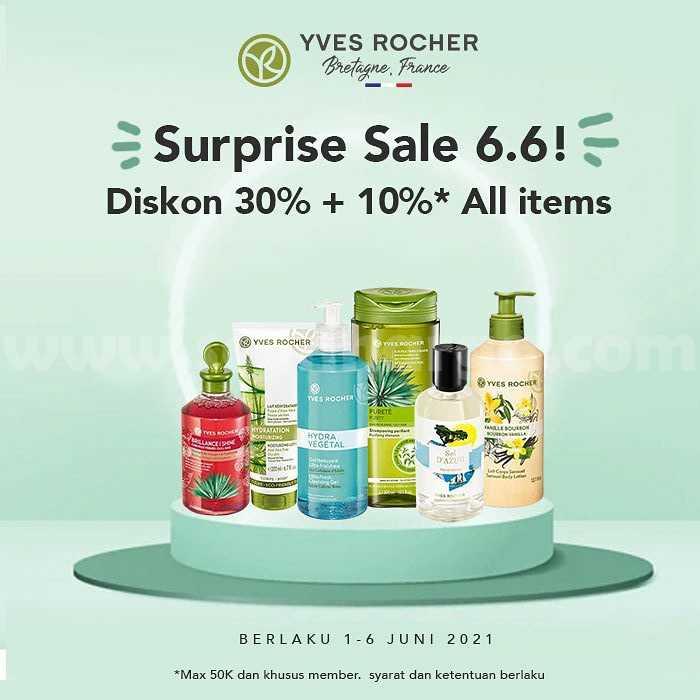 Promo Yves Rocher Surprise Sale 6.6 - Diskon 30% +10% all items