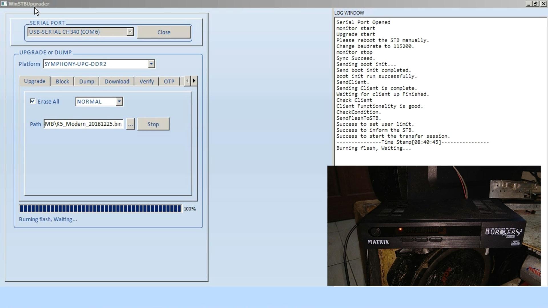 Cara Flash Receiver Matrix Burger S2 K5S 8MB Mode On