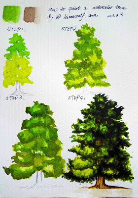 How to paint a pine tree in Watercolor