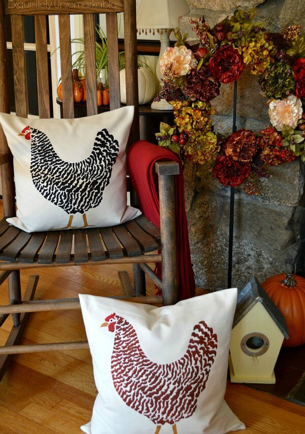 Hand Stenciled Rooster Or Chicken Pillows on a rocking chair